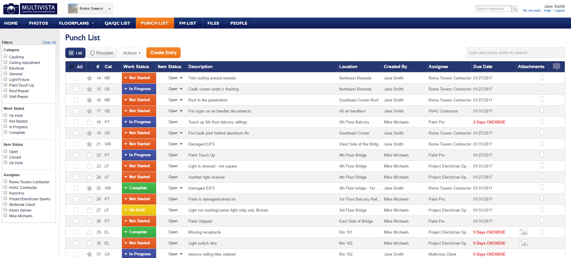 Multivista Punch List - Desktop